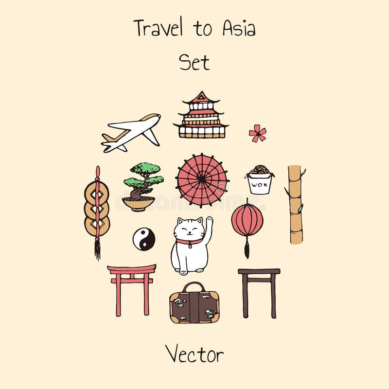 Colorful vector travel to asia set. Includes plane, suitcase and oriental elements. Umbrellas, japanese lucky cats, coins, lanterns, bonsai, torii gates royalty free illustration