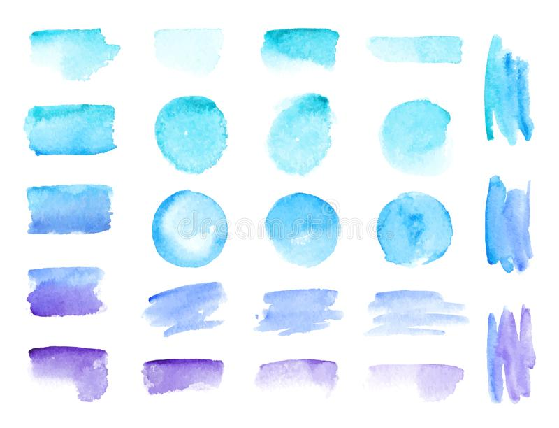 Colorful vector watercolor brush strokes. Rainbow colors watercolor paint stains vector banner backgrounds set vector illustration