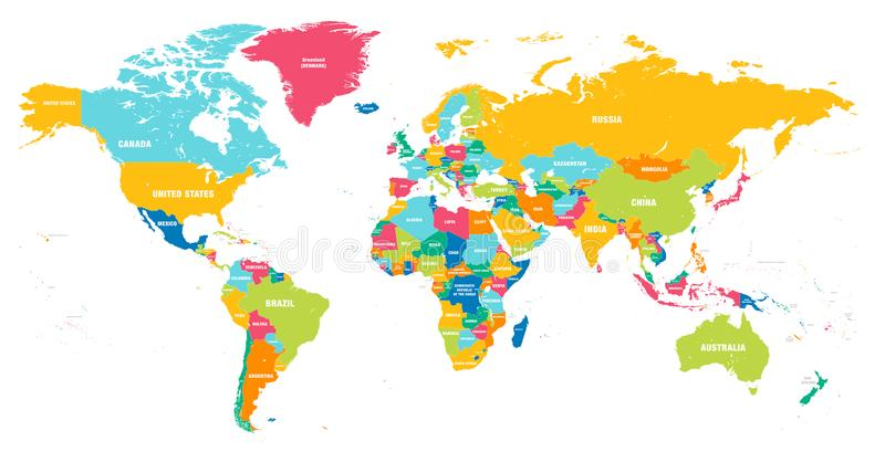 Colorful Vector world map vector illustration
