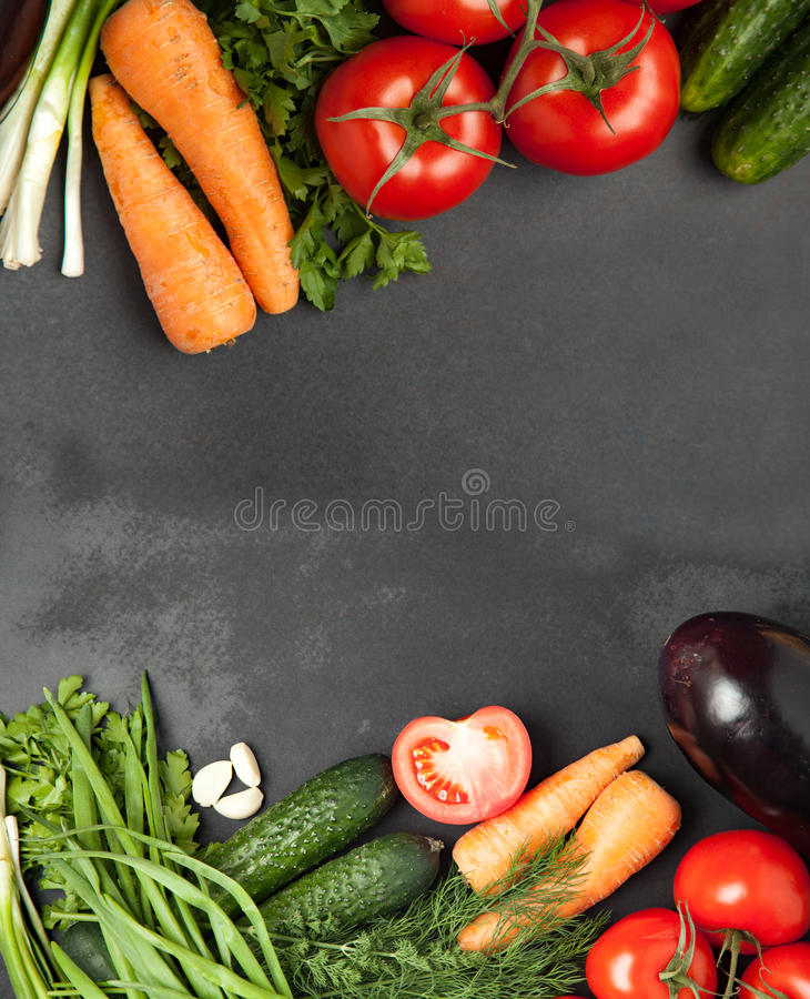 Colorful vegetable frame, healthy food concept/ top view royalty free stock photography