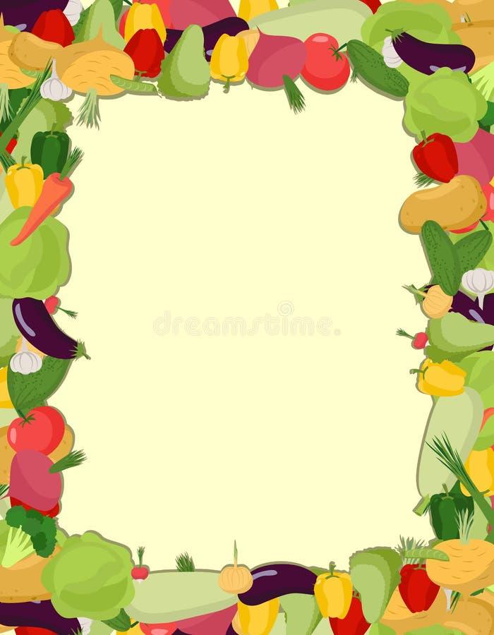 Colorful vegetable frame, healthy food concept. Vector illustration royalty free illustration