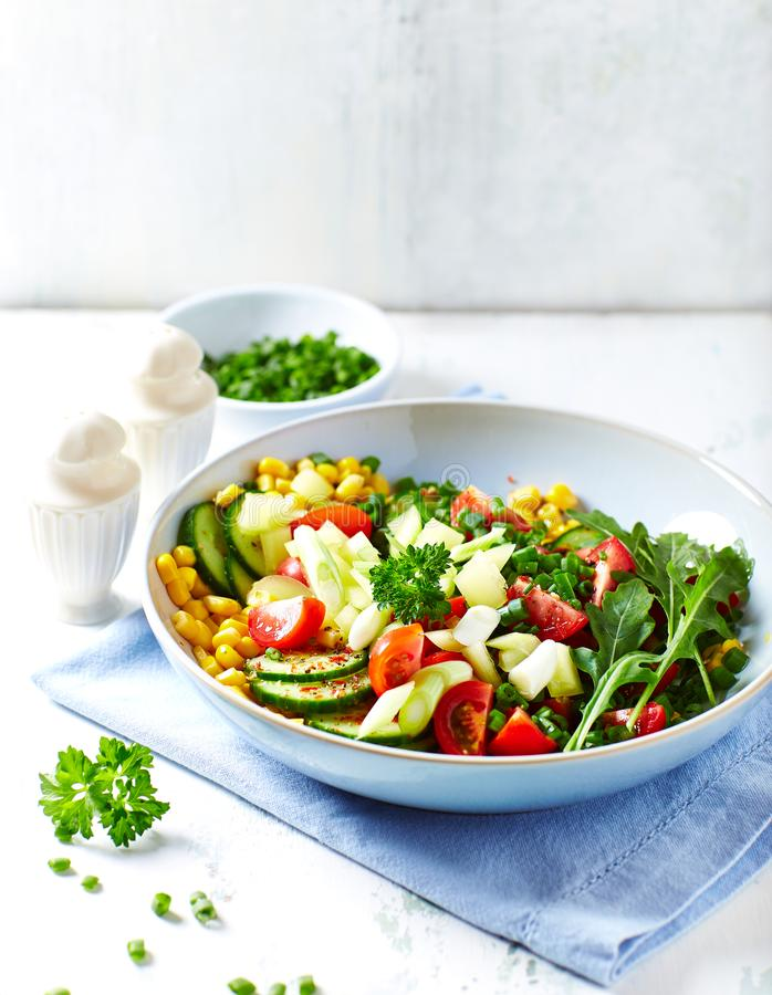 Colorful Vegetable Salad with Herbs in a Bowl. Vertical royalty free stock photos