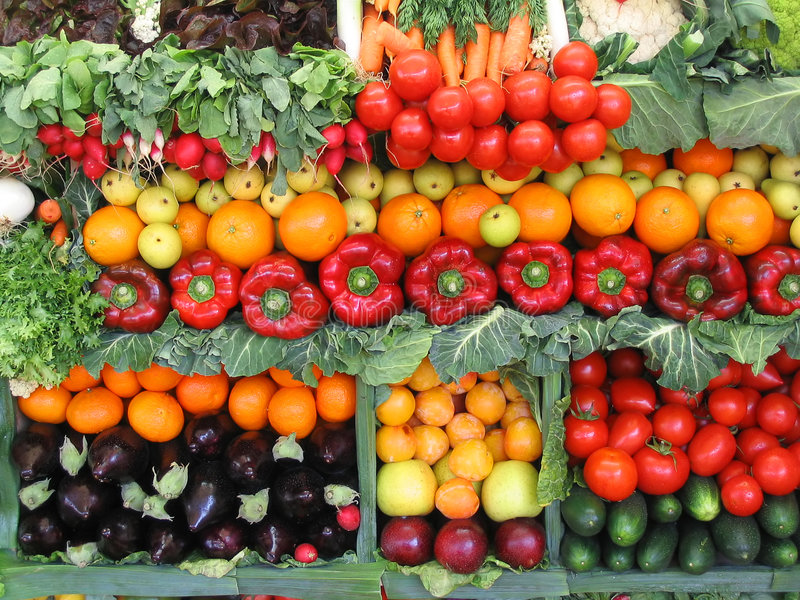 Colorful vegetables and fruits stock photo