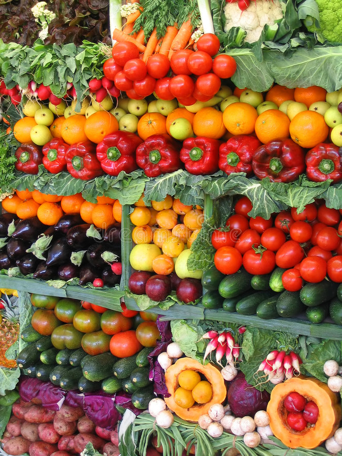 Colorful vegetables and fruits stock images
