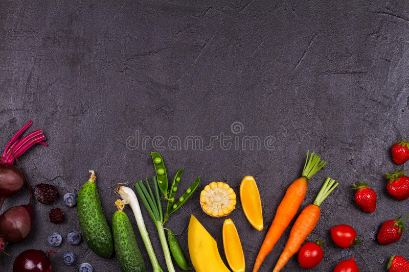 Colorful Vegetables, Fruits and Berries - Healthy Food, Diet, Detox, Clean Eating or Vegetarian Concept stock photo