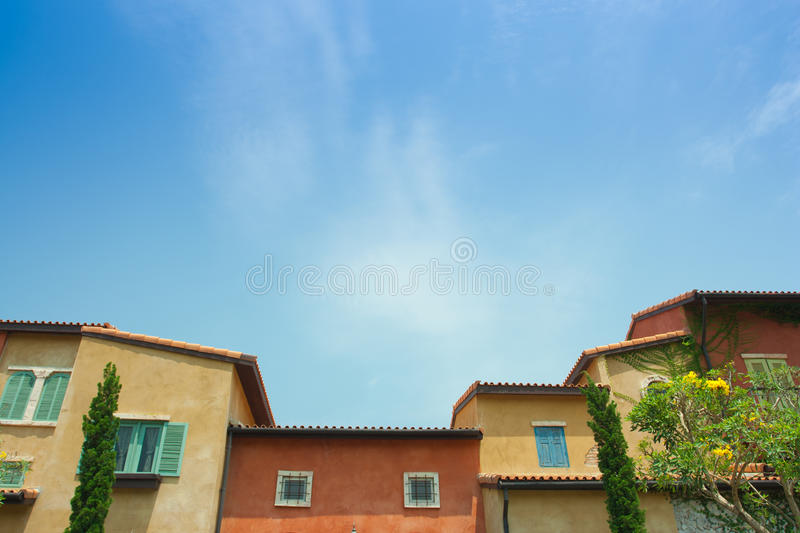 Colorful venice building style and blue sky.  stock image