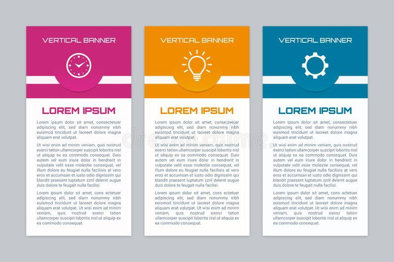 Colorful vertical infographic banner set. Infographic banners with different color options. Vertical banner set stock illustration