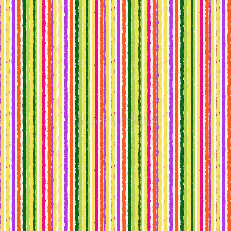 Colorful vertical stripes hand-drawn seamless pattern. Cool colorful hand drawn vertical stripes repeating pattern for modern textile and fabric and creative royalty free illustration