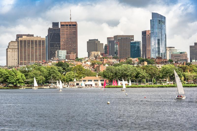 Colorful and vibrant Boston Skyline during summer day stock photos