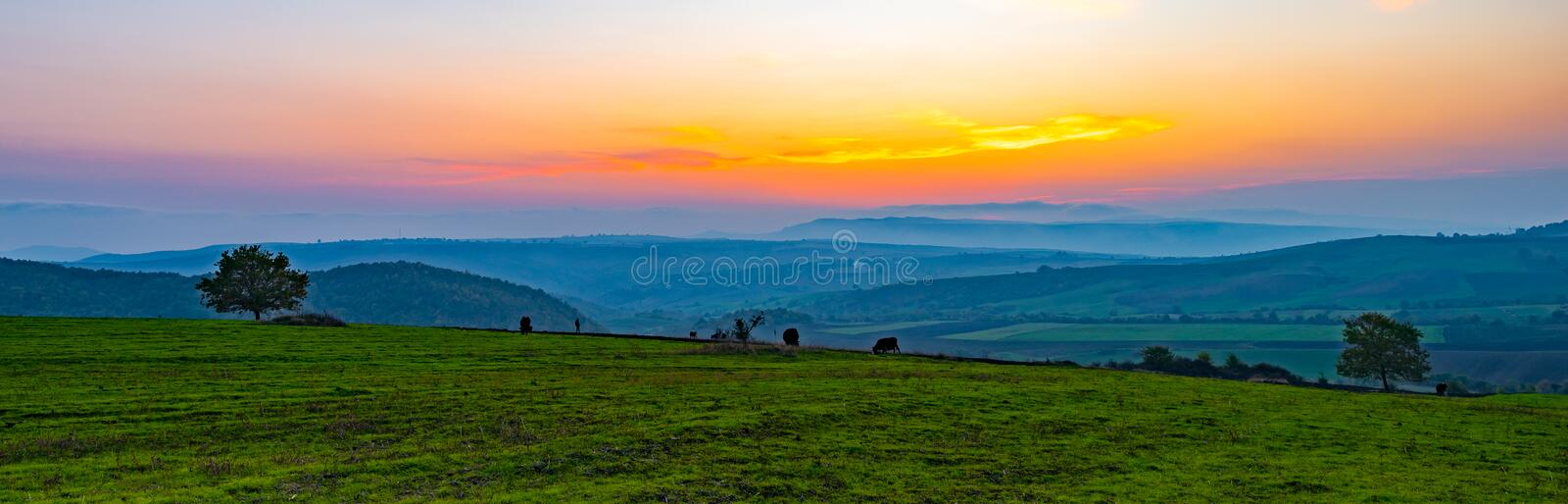 Colorful vibrant sunset, panoramic view to farm fields royalty free stock photos