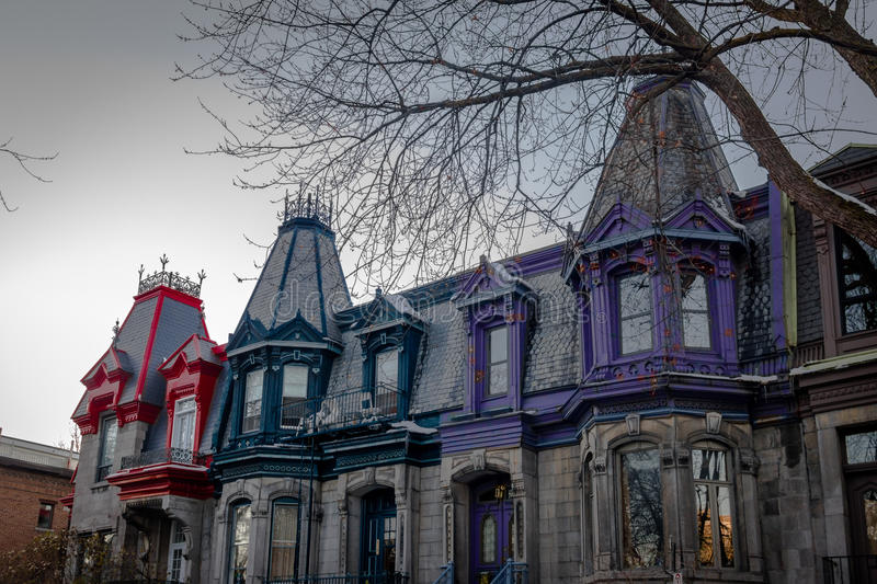 Colorful Victorian Houses in Square Saint Louis - Montreal, Quebec, Canada. Colorful Victorian Houses in Square Saint Louis in Montreal, Quebec, Canada royalty free stock image