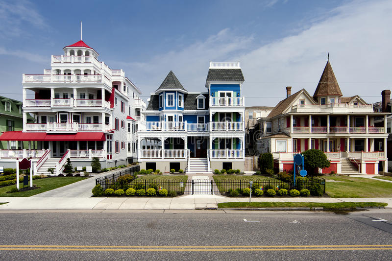 Colorful Victorian style houses royalty free stock photos