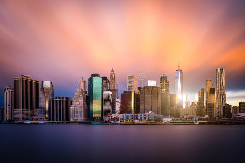 Colorful view of Lower Manhattan. New York skyline. stock photo