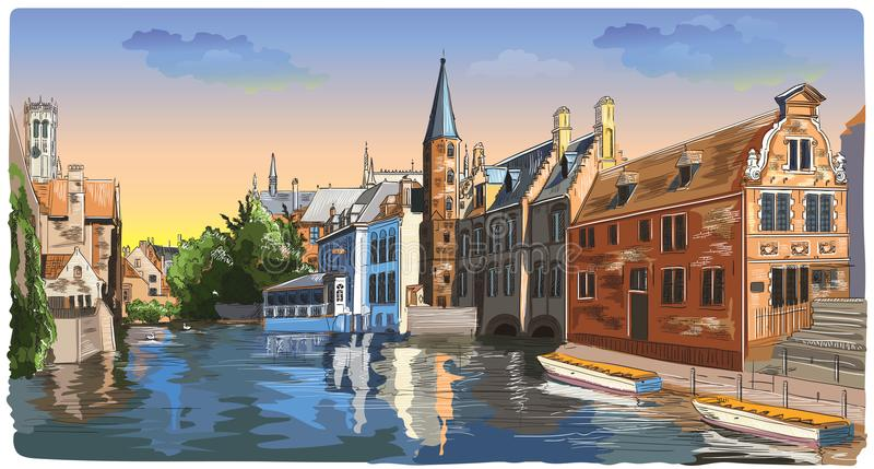 Colorful View on Rozenhoedkaai water canal in Bruges, Belgium, E. View on Rozenhoedkaai water canal in Bruges, Belgium. Landmark of Belgium. Colorful vector hand stock illustration