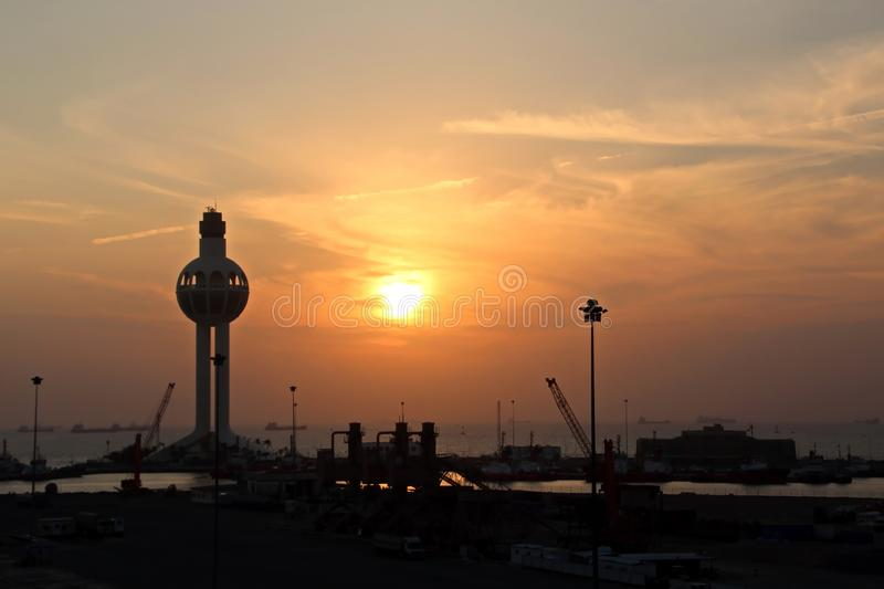 Colorful views, a play of colors at sunset. Night views of ships and piers at the port. Jeddah Port, Saudi Arabia. royalty free stock photography