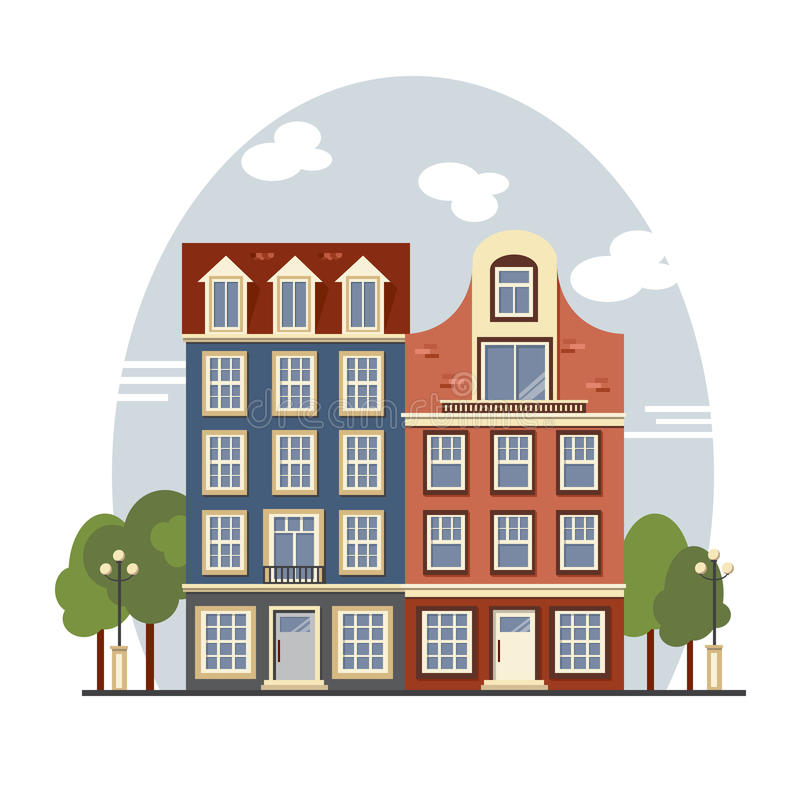 Apartment Buildings For Rent: Colorful Vintage Amsterdam Houses. Apartments For Rent