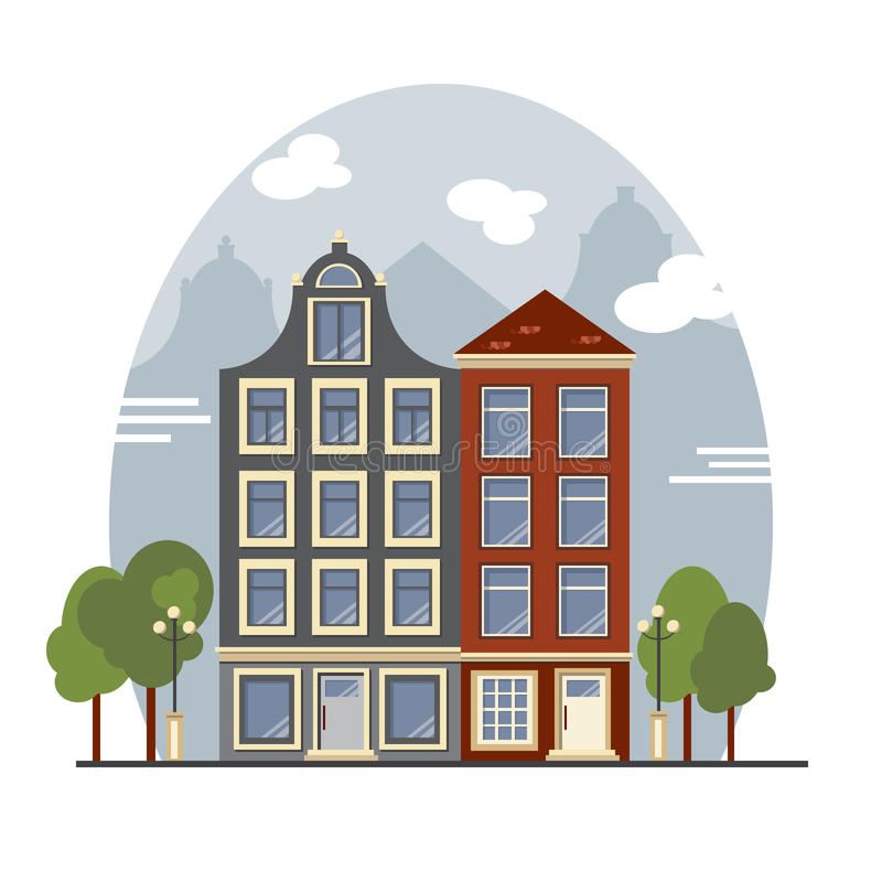 Colorful vintage Amsterdam houses. Apartments For Rent, Sale, Real Estate. European cityscape. Amsterdam houses. Cute buildings with street lamps and trees stock illustration