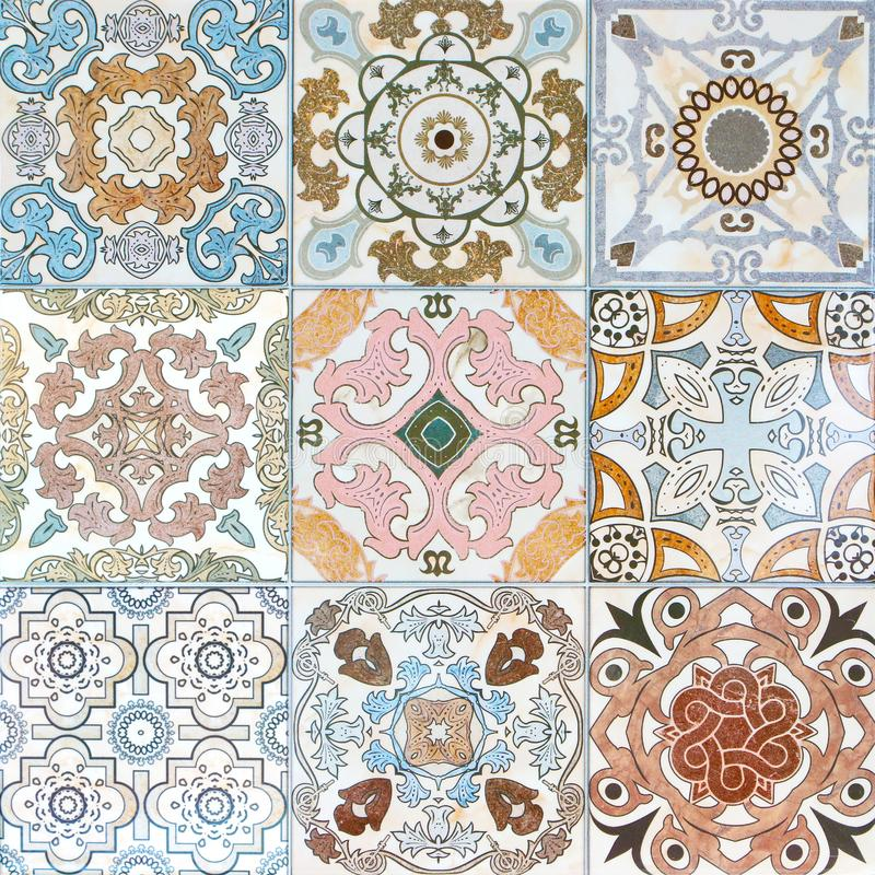 Colorful vintage ceramic tiles wall decoration royalty free stock images