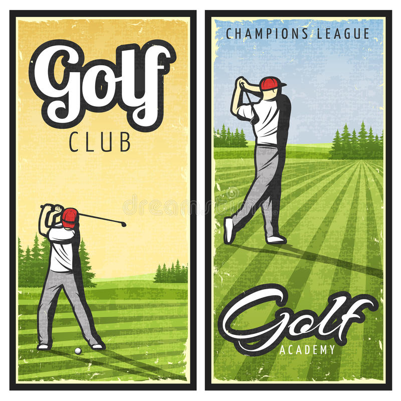 Colorful Vintage Golf Vertical Banners royalty free illustration