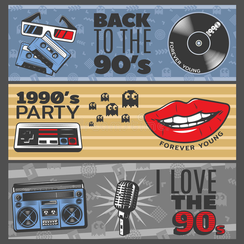Colorful Vintage Horizontal Banners vector illustration