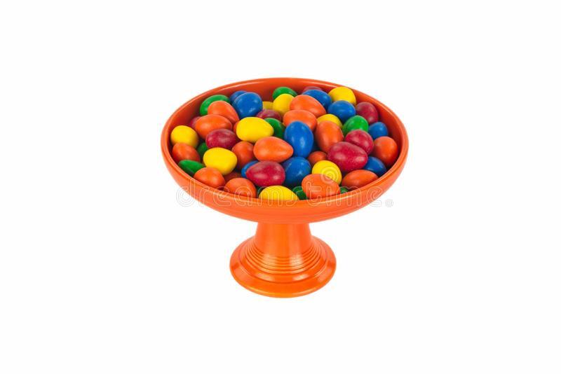 Colorful Vintage Pedestal Candy Dish with Candy stock photography