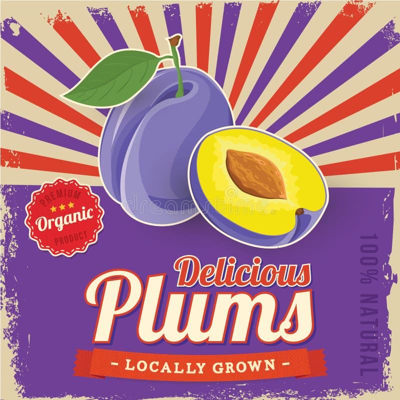 Colorful vintage Plums label poster stock illustration