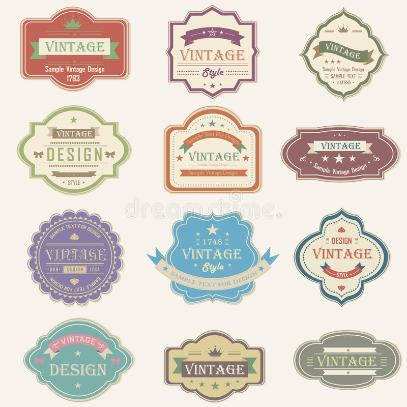 Colorful vintage and retro badges design with samp stock illustration