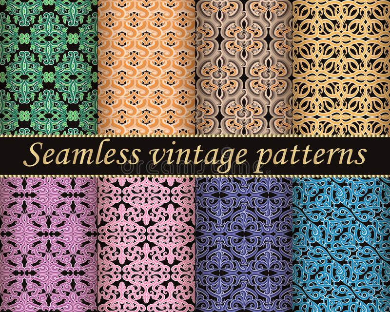 Colorful vintage seamless patterns set. Floral arabesque style Damask backgrounds. Ethnic old style hand drawn ornaments. Vector. Illustrations. Repeat royalty free illustration