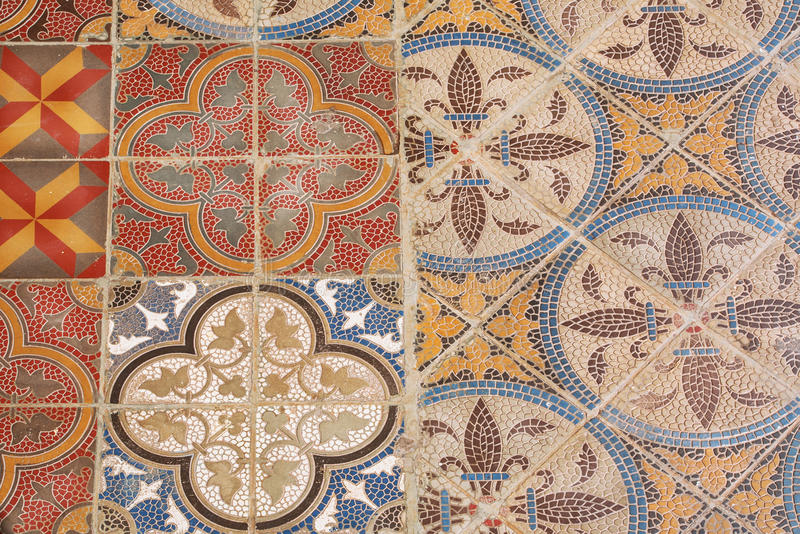 Colorful Vintage Style Ceramic Tile. Retro Patterned Texture And ...
