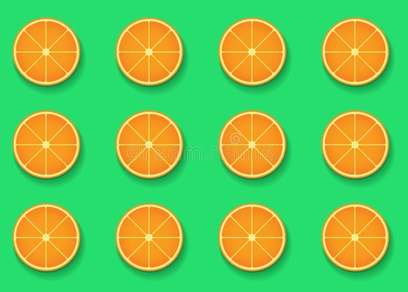 Colorful vivid background color with top view orange fruit slices pattern. Vector trendy modern pop art design vector illustration