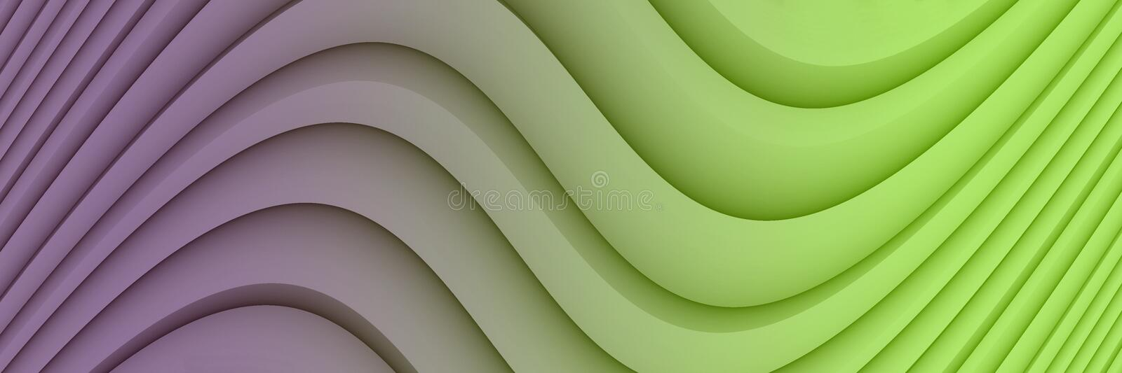 Colorful vivid purple and green abstract background illustration with soft curves and lines. Computer generated abstract fractal background banner illustration stock illustration