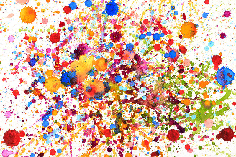 Colorful vivid water color splash stock photos