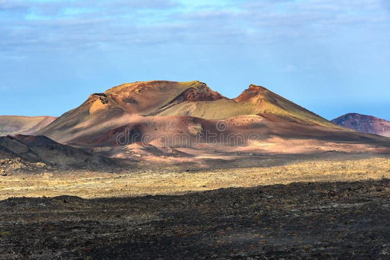 Colorful volcano in Timanfaya National Park, Lanzarote, Spain royalty free stock photos