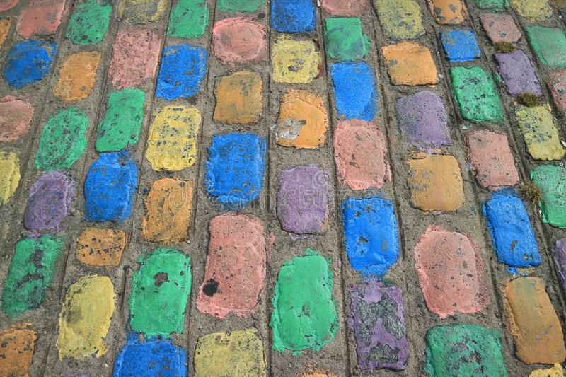 Colorful Walking Path at La Boca Neighborhood in Buenos Aires of Argentina stock image