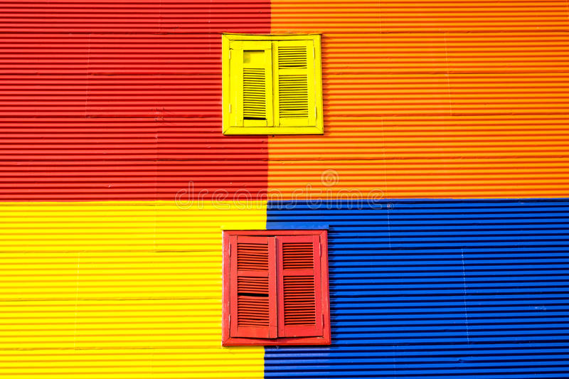 Colorful wall in La Boca, Buenos Aires stock images