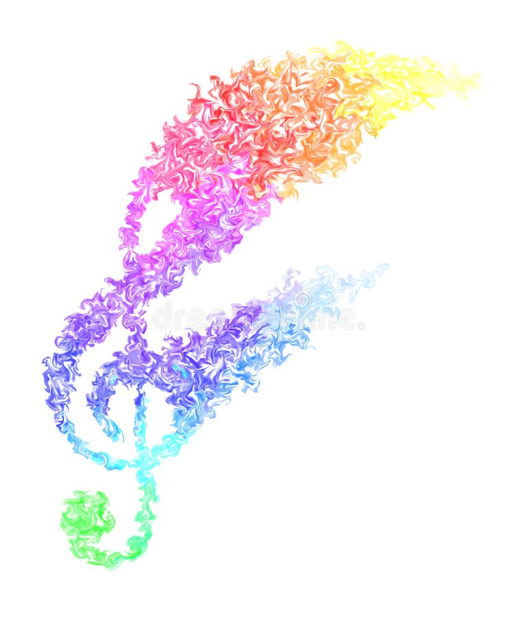 Music Note - Pulsing Smeared Rainbow Colors, Fire Design and Moving Motion. Colorful Wallpaper - Moving Music Note in Pulsing Smeared Rainbow Colors on a White vector illustration