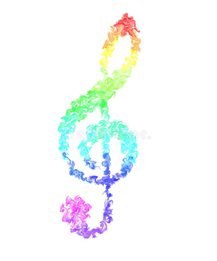 Music Note - Pulsing Smeared Rainbow Colors, Fire Design. Colorful Wallpaper - Music Note in Pulsing Smeared Rainbow Colors on White Background royalty free illustration