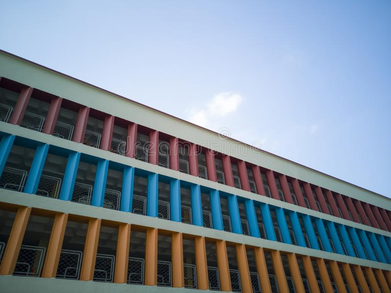 Colorful walls of a multi-storey car park royalty free stock photo