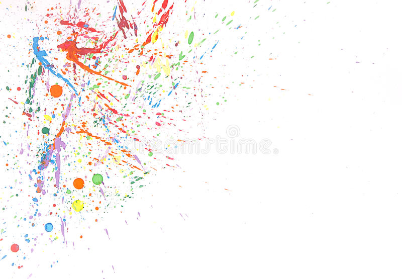 Colorful water color splash on white background stock photo