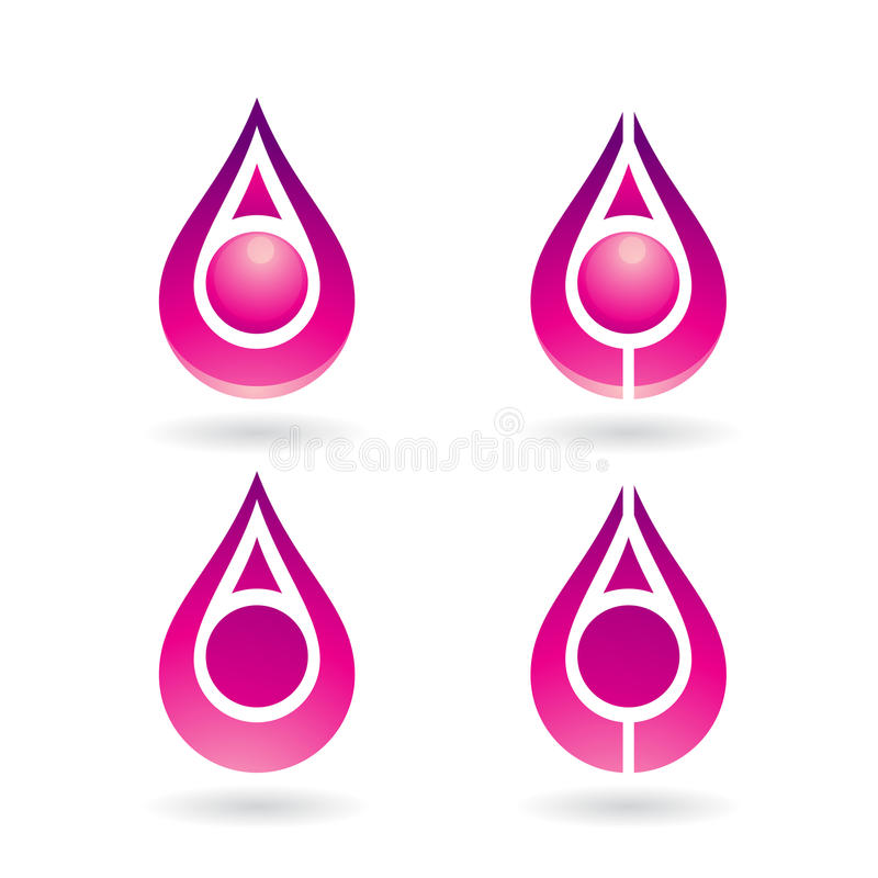 Colorful Water Drop and Earring Shape. Vector Illustration of Colorful Water Drops and Earring Shapes isolated on a white background royalty free illustration