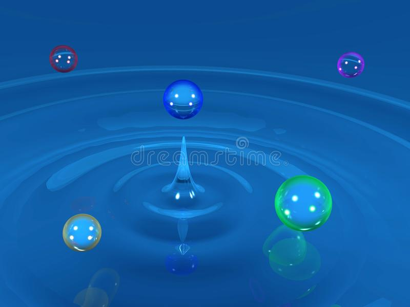 Colorful water drops royalty free stock photography