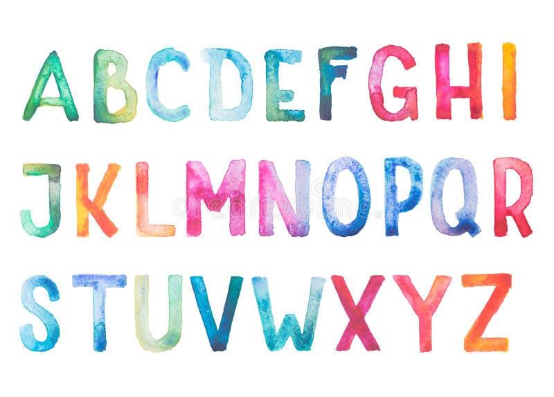 Colorful watercolor aquarelle font type. Handwritten hand draw doodle abc alphabet letters stock illustration