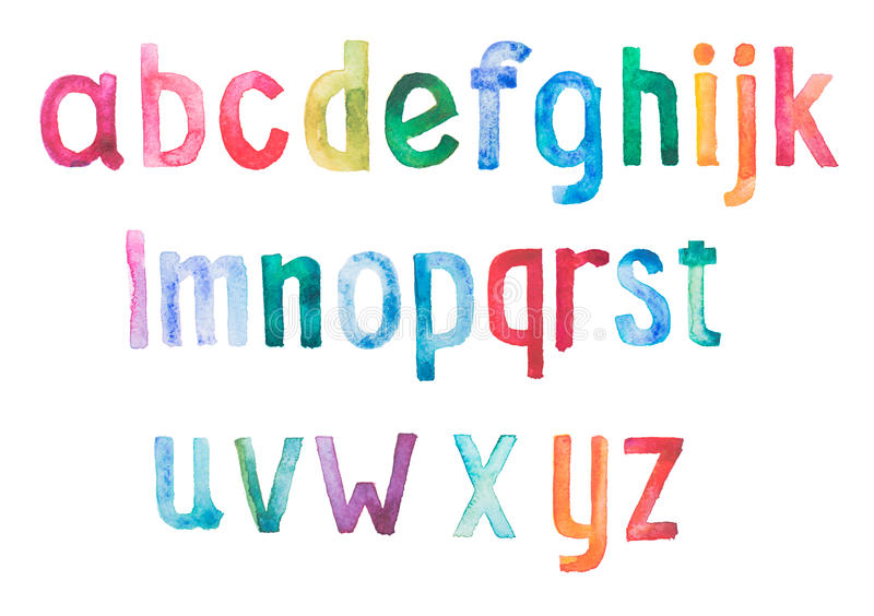 Colorful watercolor aquarelle font type. Handwritten hand draw doodle abc alphabet letters