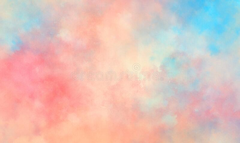 Colorful watercolor background of abstract sunset sky with puffy clouds in bright painted colors of pink blue and white royalty free stock photography