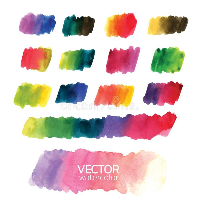 Colorful watercolor brush strokes.Vector brush stroke for design. Colorful watercolor brush strokes. Vector brush stroke for design. Abstract watercolor royalty free illustration