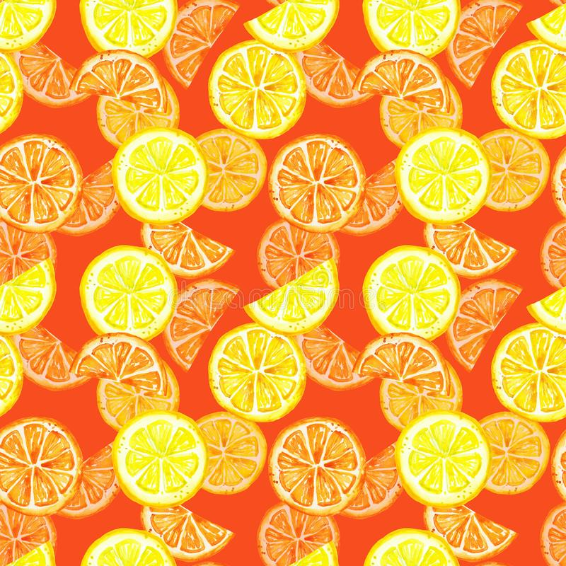 Seamless pattern with watercolor summer lemon fruits . Citrus slice, lemon, orange on warm red background. Tropical fruits. Colorful watercolor citrus seamless stock illustration