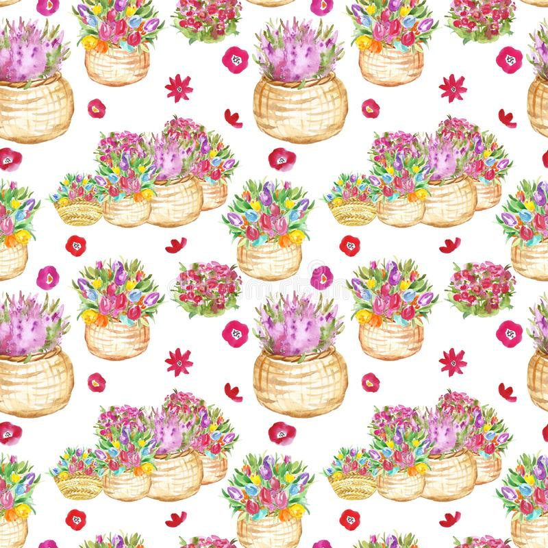 Colorful watercolor floral seamless pattern with spring and summer tulips flowers in baskets. royalty free illustration