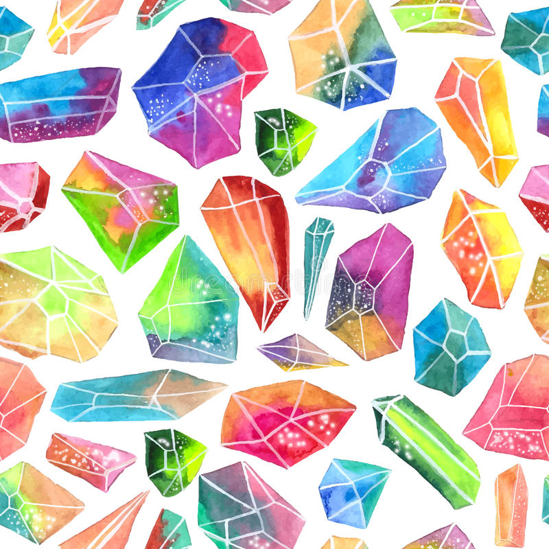 Colorful watercolor gem pattern, beautiful crystal pattern vector illustration