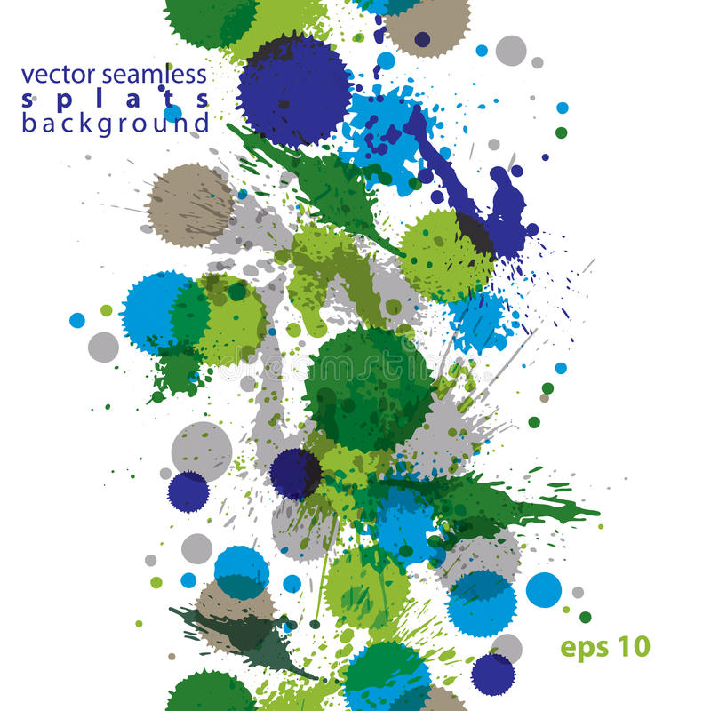 Colorful watercolor graffiti splash overlay elements, expressive. Paint seamless backdrop, eps10 green vertical spotted wallpaper royalty free illustration