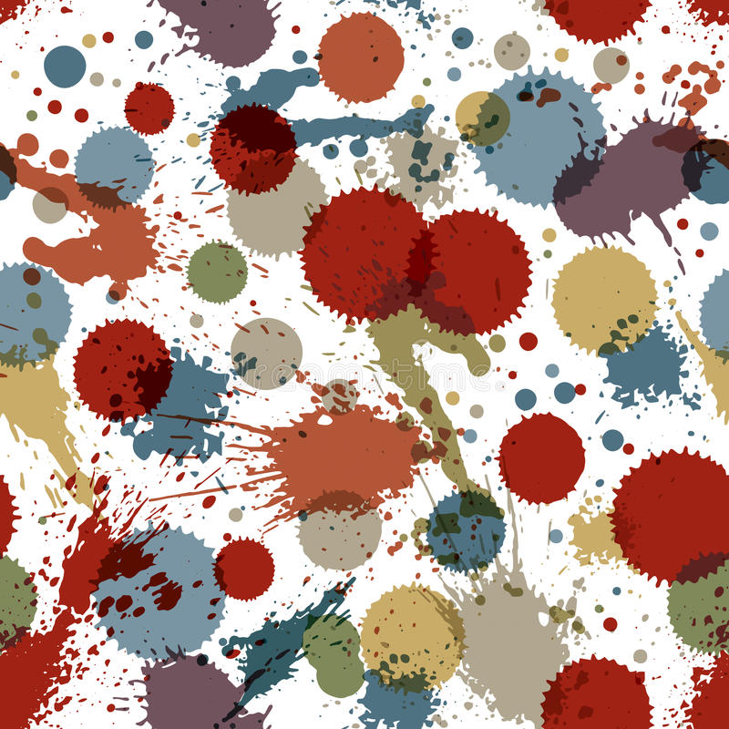 Colorful watercolor graffiti splash overlay elements, inaccurate. Paint seamless backdrop, eps8 asymmetric spotted wallpaper vector illustration